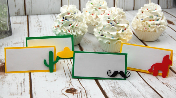 Fiesta Birthday Party Name Tags, First Birthday, Cinco de Mayo Party, Mexican Fiesta, Mexican Theme (set of 6)