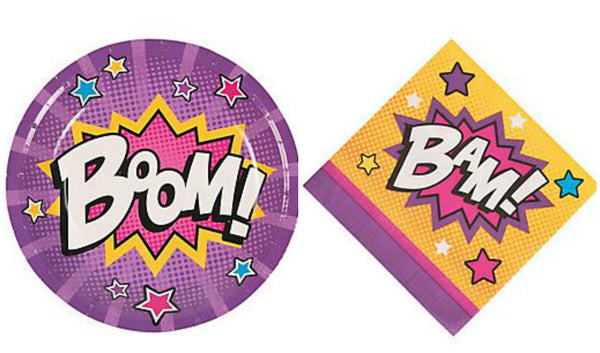 Super Girl Dessert Plates & Napkins Party Kit for 8 - We Bring the Party