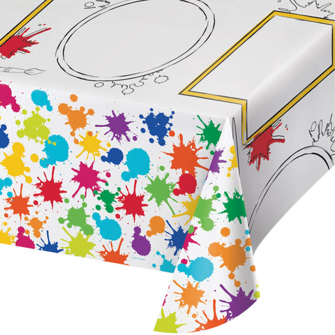 Art Party Activity Tablecover, Little Artist Plastic Tablecloth, Craft Painting Party Dinnerware, Tableware