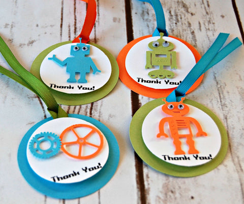Robot Themed Party Favor Tags, Robotics Party Thank You Tags, Building Party Gift Bag Tags (set of 12) Completed
