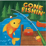 Camp Out Dinner Napkins, Camping Party Paper Napkins, Fishing Party Dinnerware, Dinner Napkins