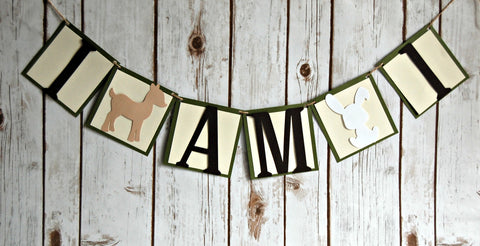 Forest Party Mini Banner, Outdoors First Birthday Banner, Woodland Creatures High Chair Banner