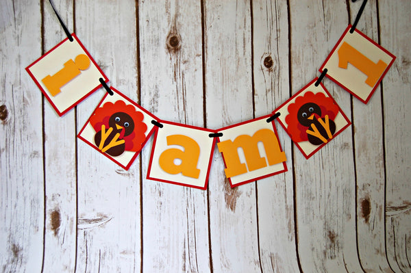 Lil' Turkey Mini Highchair Banner, Gobble Gobble Birthday, Thanksgiving Party - We Bring the Party