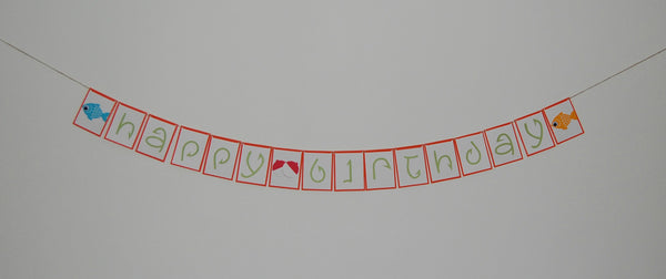 Fisherman Birthday Banner, Fishing Happy Birthday Banner, Camping Theme Decoration
