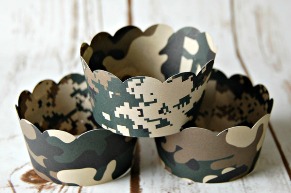 Camoflague Cupcake Wrappers, Reversible Cake Wraps,  Camo Cupcake Decoration (set of 6) - We Bring the Party - 1