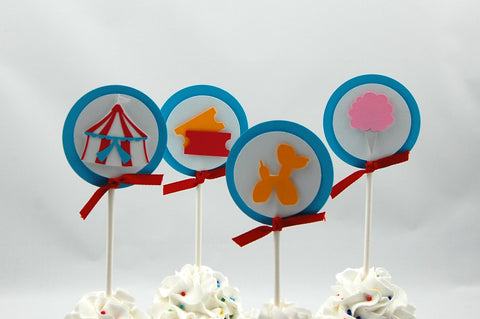 Circus Party  Cupcake Toppers (set of 12)
