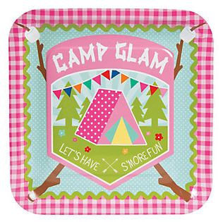 Glamping Party Dinner Plates, Glam Camping Luncheon Plates, Girl Camp Out Party