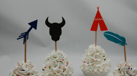 Boho Birthday Party Cupcake Toppers, Wild Child Birthday, Wild One Party, Teepee Birthday, Indian Theme (set of 12)