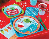 Little Fisherman Party Dinner Plate, Fishing Party Paper Plates, Luncheon Plates, Birthday Party Tableware (set of 8)