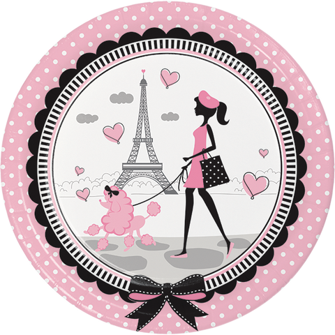 Paris Party Dinner Plates, Little Girl Luncheon Plates, Eiffel Tower Paper Plate, Birthday Party Tableware (set of 8)