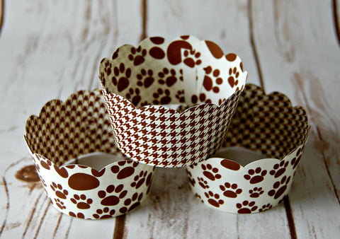 Paw Print Cupcake Wrappers, Reversible Cake Wraps,  Dog Cupcake Decoration (set of 6) - We Bring the Party - 1