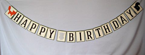 Forest Party Happy Birthday Banner, Outdoors Birthday Banner, Woodland Creatures Banner, Camping Birthday Party Decorations