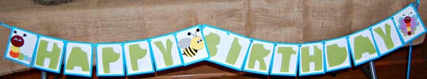 Bug Party Birthday Banner, Insect Birthday Party Banner