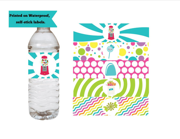 Candy Theme Water Bottle Labels - We Bring the Party
