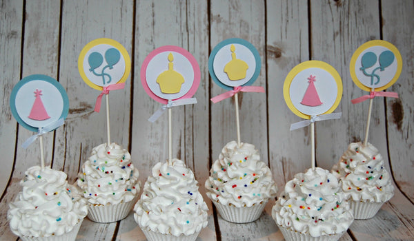 Birthday Basics: Pastels, Cupcake Toppers
