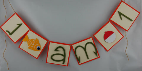 Fishing Mini Banner, I am 1 High Chair Banner, Camping Theme Decoration