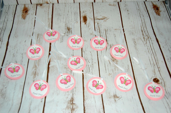 Butterfly Themed Birthday Party Favor Tags (12)