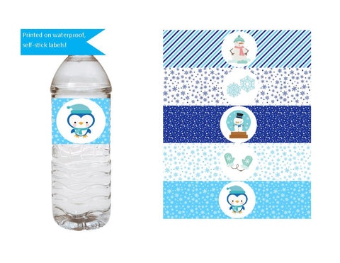 Snow Flake Theme Water Bottle Labels - We Bring the Party