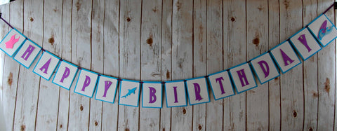 Girls Surfing Birthday Banner, Surfs Up Happy Birthday Banner