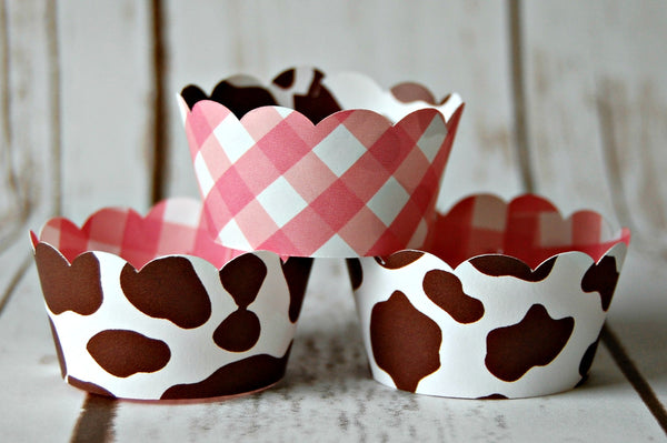 Cowgirl  Hide Mini Cupcake Wrappers - We Bring the Party - 1
