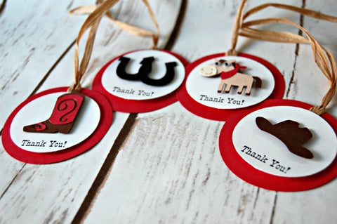 Cowboy Theme Birthday Party Favor Tags (set of 12)