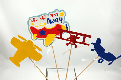 Airplane Pilot Birthday Party Centerpiece Set