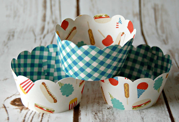 Fair Food Cupcake Wrappers, Reversible Cake Wraps,  Snack Foods Cupcake Decoration (set of 6) - We Bring the Party - 1
