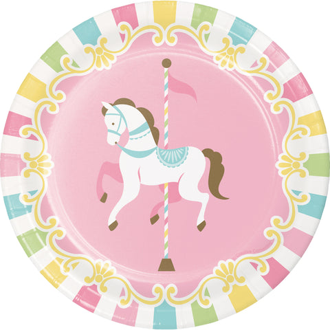 Carousel Luncheon Plates, Rainbow Paper Plates, Carnival Party Dinnerware, Dessert Plates