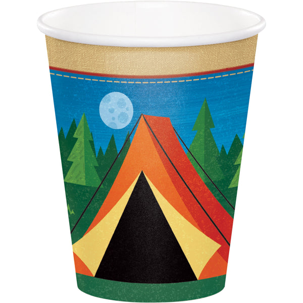 Camp Out Paper Cups, Camping Party Cups, Fishing Party Dinnerware, Disposable Cups
