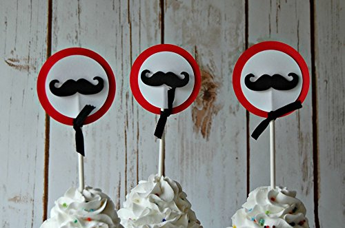 Mustache Party Cupcake Toppers (set of 12)