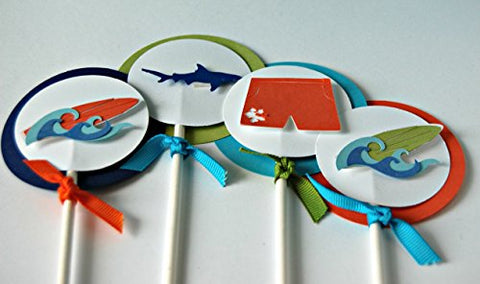 Surfing Birthday Party Cupcake Toppers (Set of 24) [Toy]