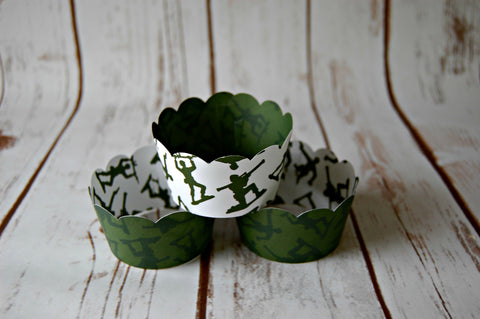 Army Men Cupcake Wrappers, Reversible Cake Wraps,  Toys Cupcake Decoration (set of 6) - We Bring the Party - 1