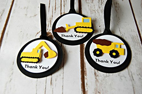 Construction Themed Birthday Party Favor Tags - Dump Truck Party Decorations (set of 12)