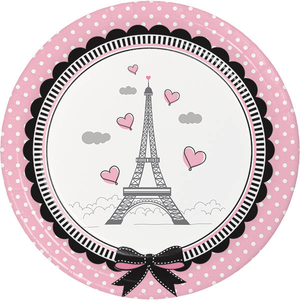 Paris Party Luncheon Plates, Little Girl Dessert Plates, Eiffel Tower Paper Plate, Birthday Party Tableware (set of 8)