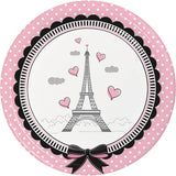 Paris Party Cups, Little Girl Beverage Cups, Eiffel Tower Paper Cups, Birthday Party Tableware (set of 8)