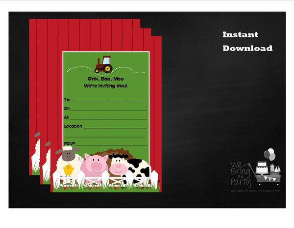 Farm Party Themed Party Invitation, Instant Download - We Bring the Party