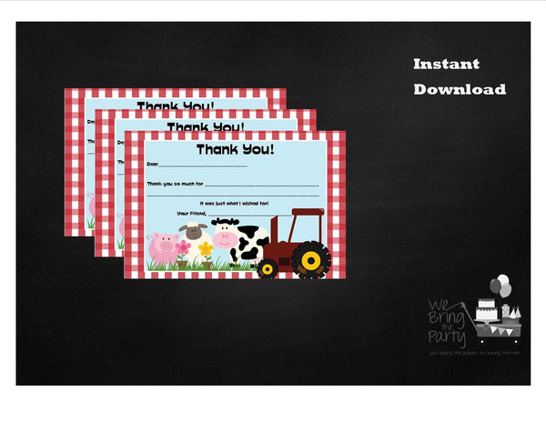 Farm Party Themed Fill In Thank You Note, Instant Download - We Bring the Party