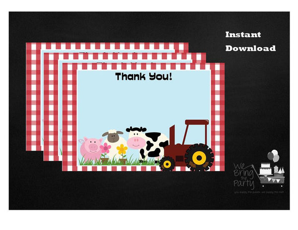 Farm Party Themed Thank You Note, Instant Download - We Bring the Party