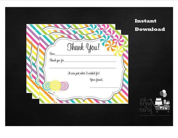 Candy Party Themed Fill In Thank You Note, Instant Download - We Bring the Party