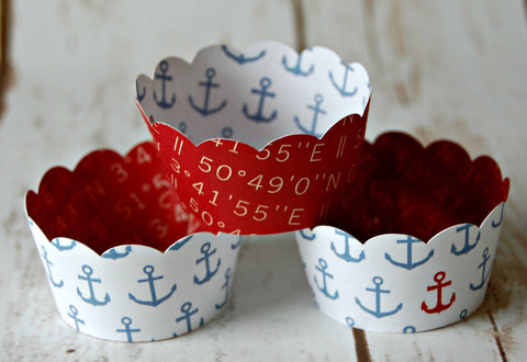 MINI Cupcake Wrappers, Nautical Cupcake Wrappers, Sailing Decor, Reversible Cake Wraps, Cupcake Decoration (set of 12)