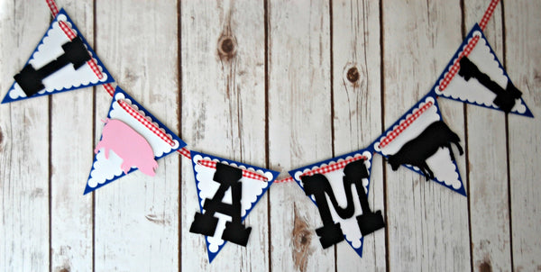 Vintage Chic Farmer's Party Mini Banner, Farm First Birthday Highchair Banner