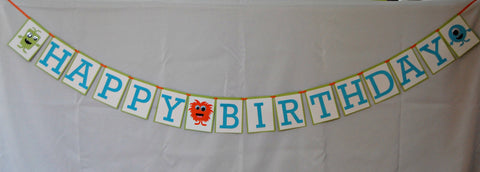 Mini Monsters Happy Birthday Banner, Little Monsters Birthday Party Banner, Silly Monster Party Decorations