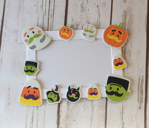 Halloween Mustache Themed Craft Kit, Magnet Craft, Costume Party Activity, Children's Crafts, Picture Frame