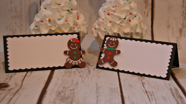 Gingerbread Party Food Buffet Name Tags, Christmas Party Decor, Holiday Birthday Name Tags, Cookie Food Tags (set of 6)