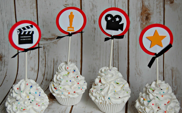 Movie Star Themed Birthday Party Cupcake Toppers (set of 12), Hollywood Party