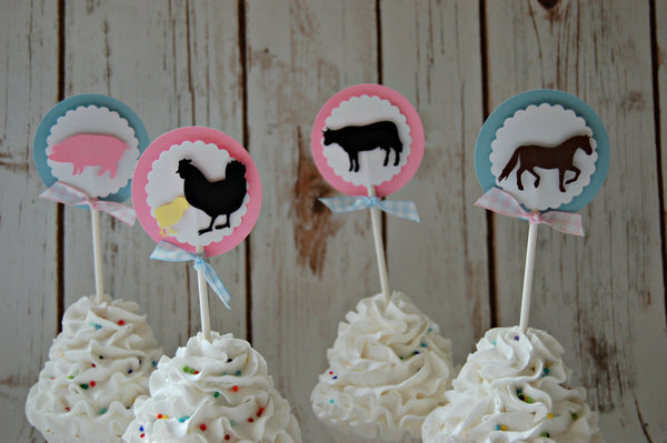 Vintage Chic Farm Themed Birthday Party Cupcake Toppers, Girls Barnyard Animals Party Decorations (set of 12)