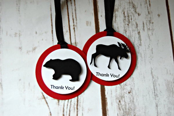 Lumberjack Theme Birthday Party Favor Tags, Forest Animal Party Favor Bags, Hunting Theme Party Favor Tag (set of 12)