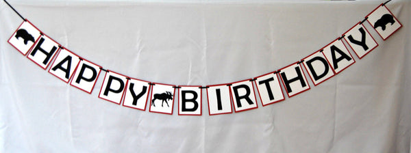 Lumberjack Party Birthday Banner, Bear and Moose Birthday Party Banner
