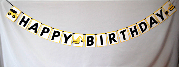 Construction Happy Birthday Banner, Big Machines Birthday Party Banner, Little Workers Party Decorations, Dump Truck Birthday Party Decor