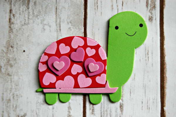 Foam Valentine Turtle Craft Kit, Magnet Craft, Party Activity, Children's Crafts